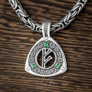 Руна Феху из серебра с камнями